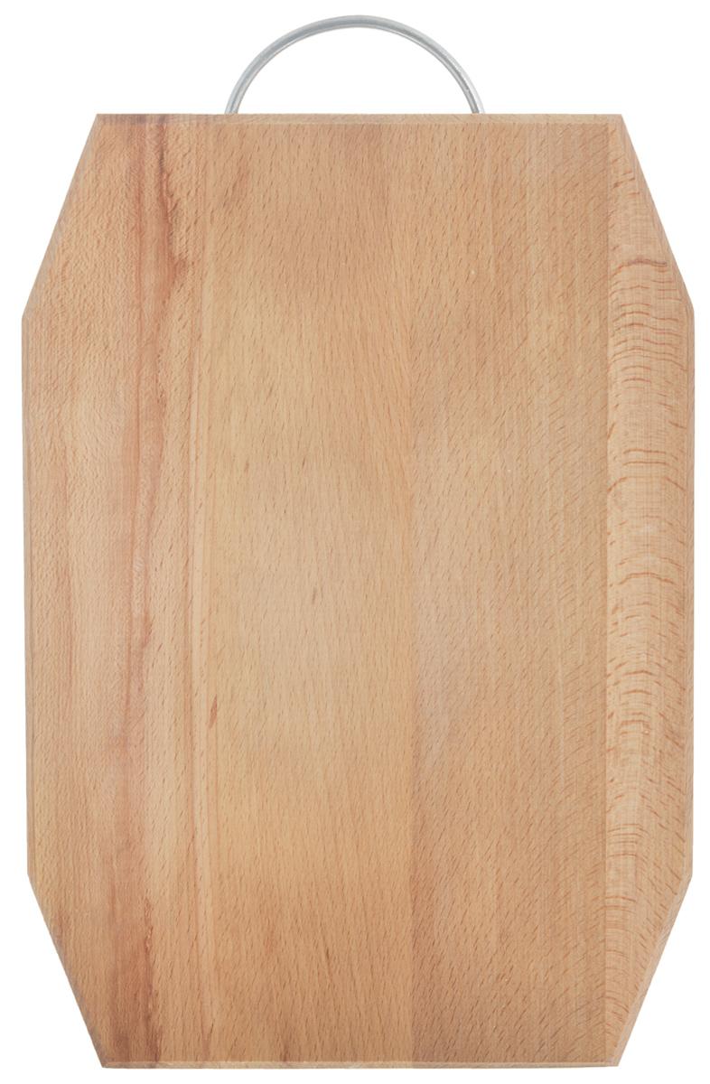 Доска разделочная Хозяюшка, с ручкой, 35 х 25 см. 07-3391602Разделочная доска Хозяюшка изготовлена из бука. Бук наряду с дубом и тиком относится к ценным твердолиственным породам элитной группы категории А, класса люкс. По структуре древесины бук считается менее рыхлым, чем дуб, и более гибким, чем тик, при этом не уступает по прочности этим двум породам, а по красоте даже превосходит их. Бук отличают, прежде всего, уникальная текстура и естественный белый с желтовато-красным оттенком, со временем переходящим в розовато-коричневый, цвет древесины. Бук прекрасно поддается шлифовке и полировке. Бук боится влаги, но, как в случае со всеми без исключения досками из древесины, вопрос влагостойкости решается пропиткой дерева специальным минеральным или льняным маслом. Масло защищает доску от коробления, рассыхания и растрескивания. Именно поэтому все доски Хозяюшка обработаны льняным маслом и упакованы в пленку. Разделочная доска имеет фигурную форму, оснащена металлической ручкой. Нельзя мыть в посудомоечной машине. Для продления срока эксплуатации рекомендуется периодически смазывать доску растительным маслом. Длина доски (с ручкой): 38,5 см.