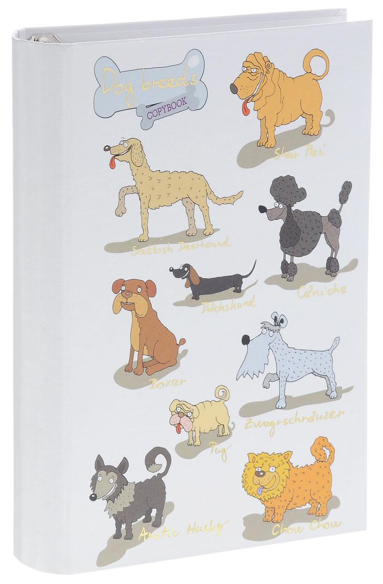 Тетрадь на кольцах Listoff Забавные собаки подойдет для хранения важных записей по учебе, работе или для повседневных заметок. Обложка тетради выполнена из плотного картона и оформлена изображением задорных собак. Внутренний блок состоит из 120 листов качественной белой бумаги. Стандартная линовка в серую клетку без полей. Листы в блоке крепятся на четырех металлических кольцах.