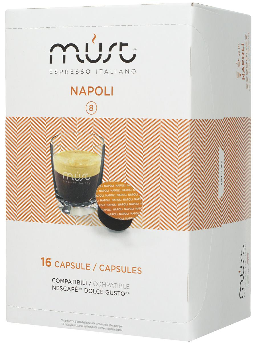 MUST DG Napoli кофе капсульный, 16 шт12128828Капсульный кофе MUST DG Napoli - это крепкий напиток с неповторимым вкусом, истинный эспрессо! Благодаря лучшим сортам африканской робусты и бразильской арабики получился ароматный насыщенный кофе с плотной и бархатистой пенкой.