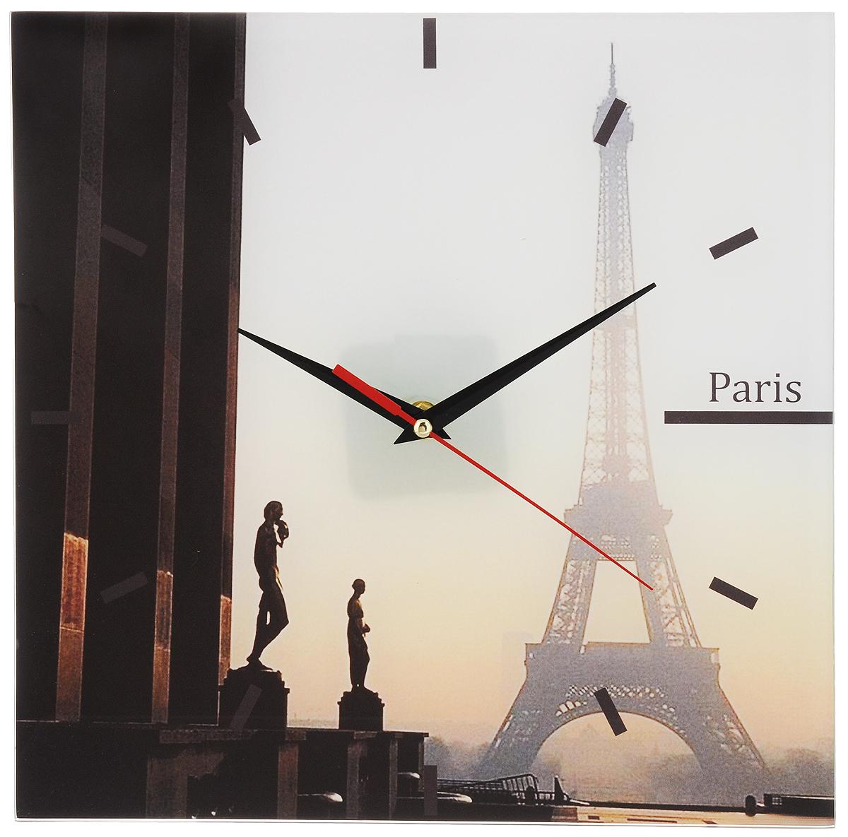Часы настенные Paris, стеклянные, цвет: мульти. 95301300074_ежевикаОригинальные настенные часы Paris выполнены из стекла и оформлены изображением Парижа. Часы имеют три стрелки - часовую, минутную и секундную. Циферблат часов не защищен. Необычное дизайнерское решение и качество исполнения придутся по вкусу каждому. Оформите совой дом таким интерьерным аксессуаром или преподнесите его в качестве презента друзьям, и они оценят ваш оригинальный вкус и неординарность подарка. Характеристики:Материал: пластик, стекло. Размер: 28 см x 28 см x 2 см. Размер упаковки: 30 см х 30 см х 4,5 см. Артикул: 95301. Работают от батарейки типа АА (в комплект не входит).