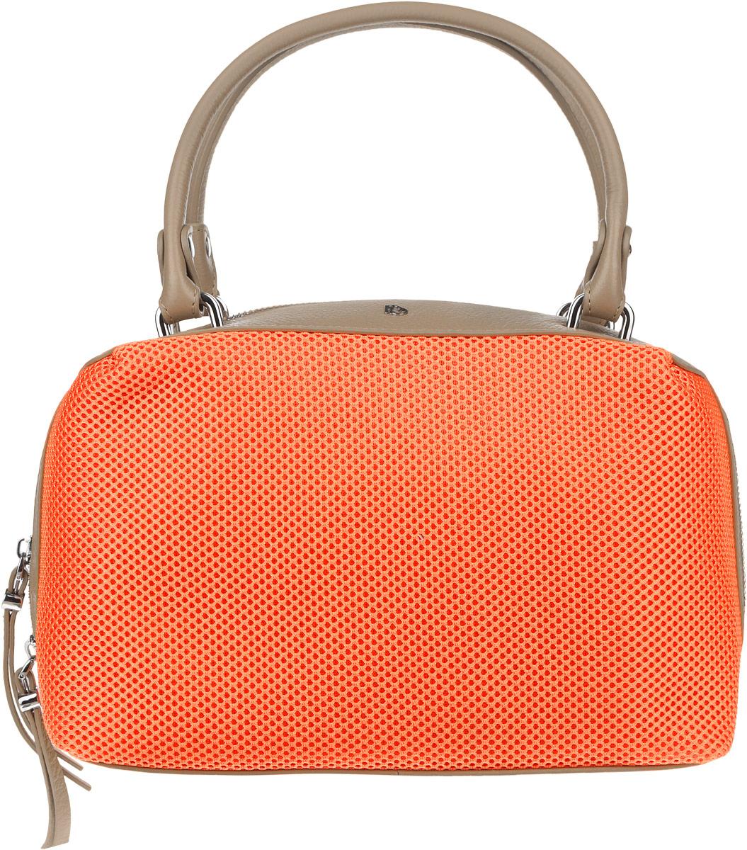 Сумка женская Pimo Betti, цвет: оранжевый, темно-бежевый. 14674B1-W1101225Оригинальная женская сумка торговой марки Pimo Betti выполнена из натуральной кожи с зернистой фактурой и текстильных вставок с перфорированной поверхностью. Модель закрывается на металлическую застежку-молнию.Сумка состоит из одного отделения, содержит два нашивных кармана для мелочей и мобильного телефона и врезной карман на пластиковой молнии. На задней стенке предусмотрен небольшой прорезной карман на молнии. Изделие оснащено удобными ручками. Дно сумки дополнено металлическими ножками, которые защищают изделие от повреждений. Сумка декорирована металлическими элементами с символикой логотипа бренда.Прилагается фирменный текстильный чехол для хранения.Оригинальный аксессуар позволит вам завершить образ и всегда быть в центре внимания.