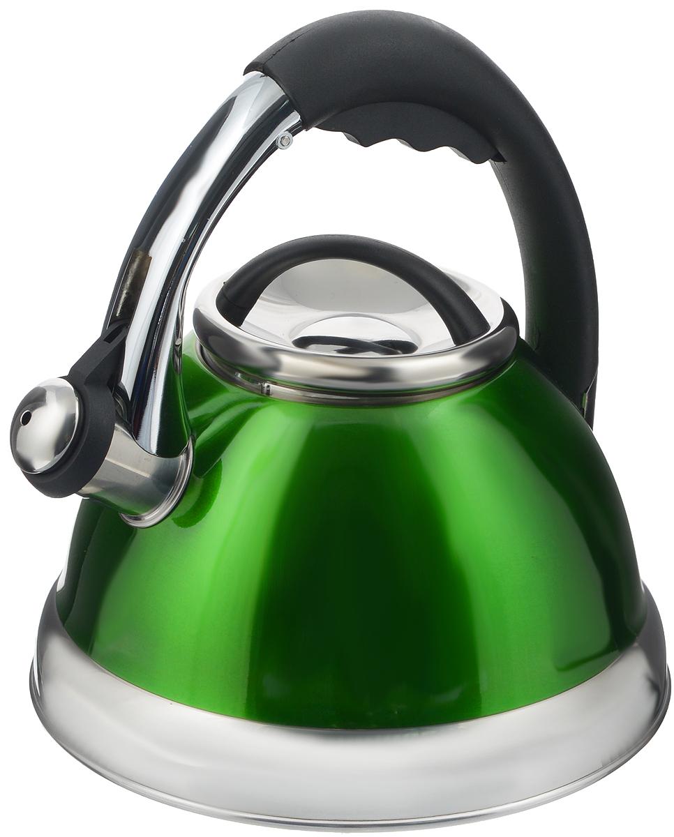 Чайник Calve, со свистком, цвет: зеленый, 2,6 л115510Чайник Calve изготовлен из высококачественной нержавеющей стали. Нержавеющая сталь обладает высокой устойчивостью к коррозии, не вступает в реакцию с холодными и горячими продуктами и полностью сохраняет их вкусовые качества. Особая конструкция дна способствует высокой теплопроводности и равномерному распределению тепла. Чайник оснащен удобной бакелитовой ручкой с кнопкой-закрепителем положения носика. Носик чайника имеет откидной свисток, звуковой сигнал которого подскажет, когда закипит вода. Можно мыть в посудомоечной машине.Диаметр чайника (по верхнему краю): 10 см.Диаметр основания: 17 см.Высота чайника (с учетом ручки): 23,5 см.