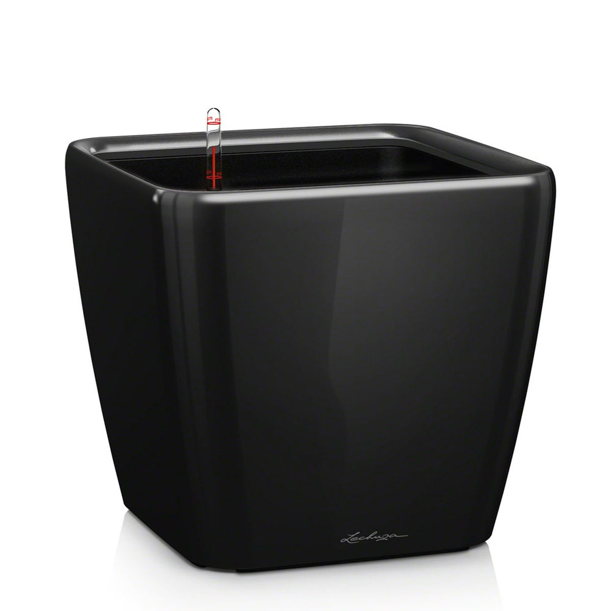 Кашпо Lechuza Quadro, с системой автополива, цвет: черный, 43 х 43 х 40 см16189Кашпо Lechuza Quadro, выполненное из высококачественного пластика, имеет уникальную систему автополива, благодаря которой корневая система растения непрерывно снабжается влагой из резервуара. Уровень воды в резервуаре контролируется с помощью специального индикатора. В зависимости от размера кашпо и растения воды хватает на 2-12 недель. Это способствует хорошему росту цветов и предотвращает переувлажнение.В набор входит: кашпо, внутренний горшок, индикатор уровня воды, вал подачи воды, субстрат растений в качестве дренажного слоя, резервуар для воды. Кашпо Lechuza Quadro прекрасно впишется в любой интерьер. Оно поможет расставить нужные акценты, а также придаст помещению вид, соответствующий вашим представлениям.