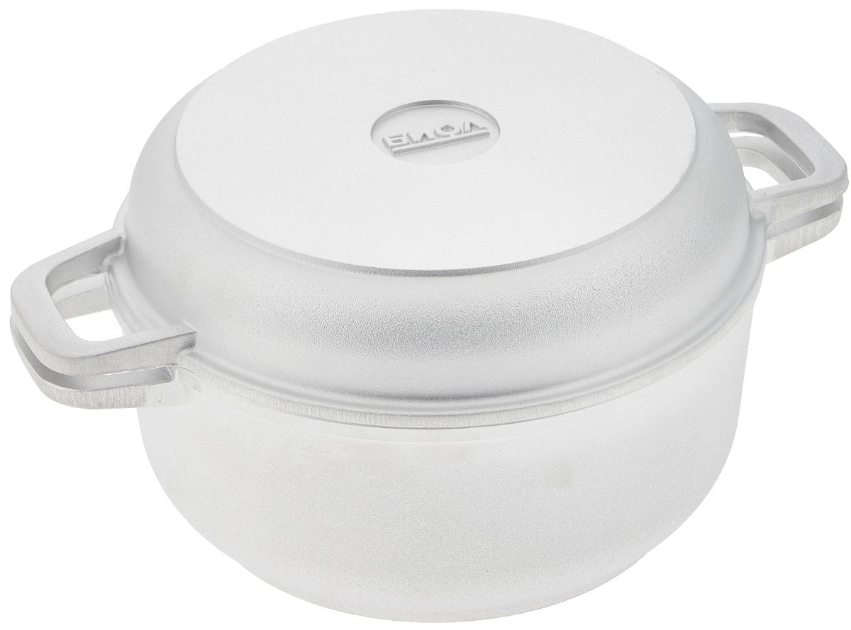 Кастрюля Биол с крышкой-сковородой, 2 лOliva-C20IКастрюля Биол изготовлена из литого алюминия с утолщенным дном. Изделие оснащено плотно прилегающей крышкой, которая также является сковородой.Кастрюля снабжена двумя эргономичными ручками для комфортного хвата. Кастрюлю и крышку можно использовать как вместе, так и отдельно. Нельзя оставлять приготовленную пищу в посуде для хранения. Кастрюлю можно использовать на газовых, электрических и стеклокерамических плитах. Рекомендовано мыть вручную. Диаметр кастрюли по верхнему краю: 21 см.Ширина кастрюли (с учетом ручек): 27,5 см.Высота стенки кастрюли: 9 см.Толщина стенки: 4 мм. Толщина дна: 7 мм. Диаметр крышки по верхнему краю: 21 см.Высота крышки: 4,5 см.Ширина крышки с учетом ручек: 27,7 см.