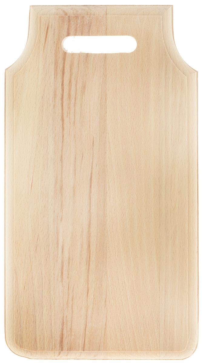 Доска разделочная Хозяюшка, полуфигурная, 36 х 19 см68/5/4Разделочная доска Хозяюшка изготовлена из бука. Бук наряду с дубом и тиком относится к ценным твердолиственным породам элитной группы категории А, класса люкс. По структуре древесины бук считается менее рыхлым, чем дуб, и более гибким, чем тик, при этом не уступает по прочности этим двум великолепным породам, а по красоте даже превосходит их. Бук отличают, прежде всего, уникальная текстура и естественный белый с желтовато-красным оттенком, со временем переходящим в розовато-коричневый, цвет древесины. Бук прекрасно поддается шлифовке и полировке. Разделочная доска имеет полуфигурную форму, оснащена ручкой. Нельзя мыть деревянную доску в посудомоечной машине. Для продления срока эксплуатации периодически смазывать растительным маслом.