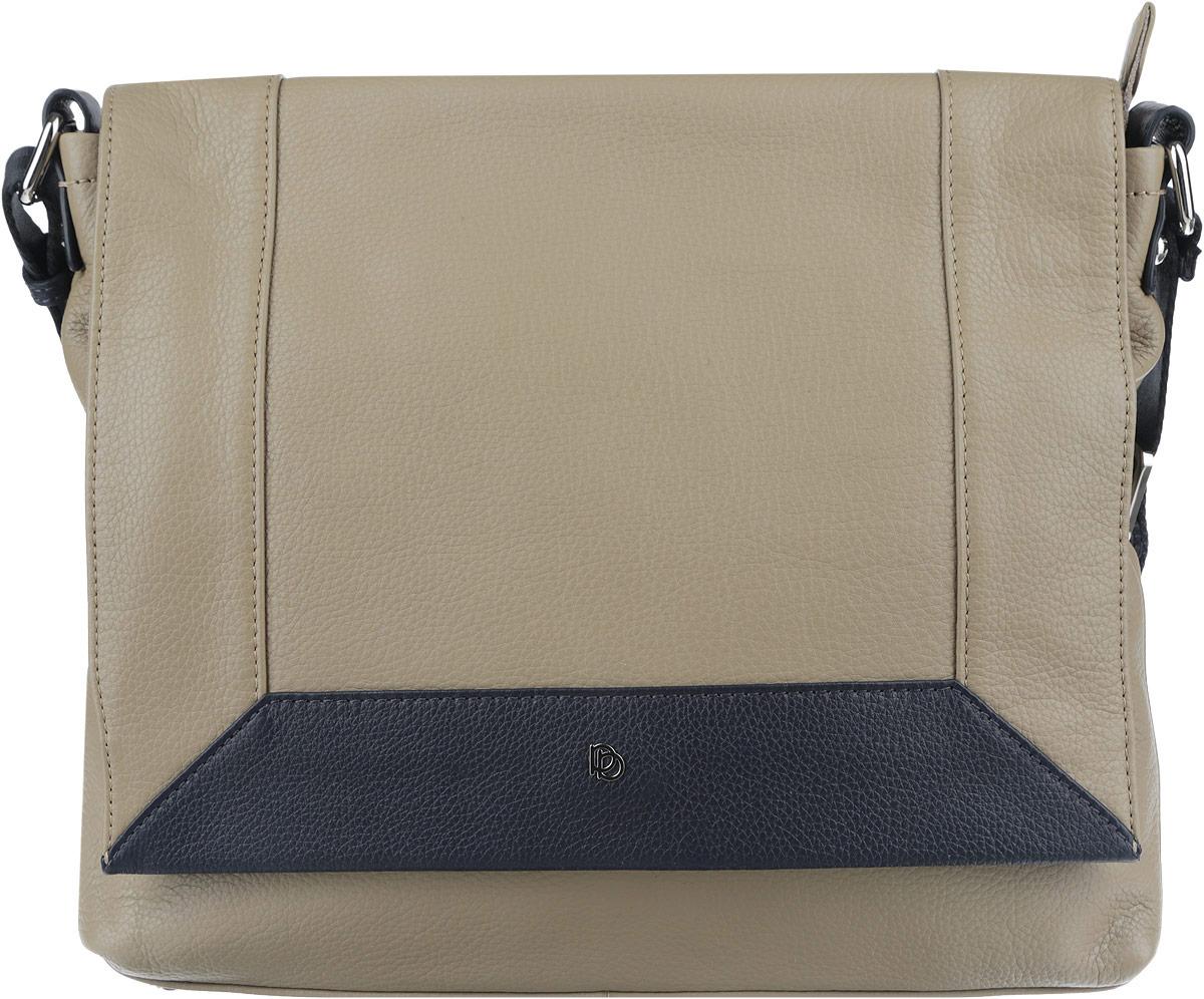 Сумка женская Pimo Betti, цвет: темно-бежевый, темно-синий. 14223BS1-W2L39845800Оригинальная женская сумка торговой марки Pimo Betti выполнена из натуральной кожи с зернистой фактурой и застегивается на пластиковую застежку-молнию и дополнительно на клапан с кнопкой-магнитом. Клапан выполнен с контрастной вставкой по краю и декорирован символикой логотипа бренда.Сумка состоит из одного основного отделения, разделенного карманом-средником на молнии. Сумка содержит два нашивных открытых кармана для мелочей и телефона, врезной карман на пластиковой застежке-молнии. Снаружи, на задней стороне сумки, расположен прорезной кармашек на молнии. Лицевая сторона сумки дополнена врезным карманом на молнии, расположенным под клапаном. Изделие оснащено несъемным текстильным плечевым ремнем, регулируемой длины. Дно сумки дополнено металлическими ножками, которые защищают изделие от повреждений. Прилагается фирменный текстильный чехол для хранения.Оригинальный аксессуар позволит вам завершить образ и быть неотразимой.
