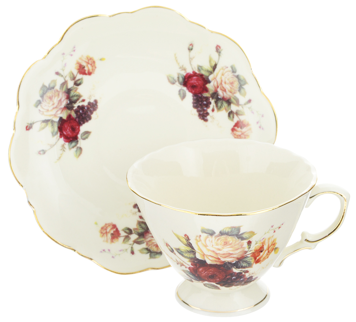 Чайная пара Elan Gallery Бархатный нектар, цвет: бежевый, розовый, 2 предмета115510Чайная пара Elan Gallery Бархатный нектар состоит из чашки и блюдца, изготовленных из керамики высшего качества, отличающейся необыкновенной прочностью и небольшим весом. Яркий дизайн, несомненно, придется вам по вкусу.Чайная пара украсит ваш кухонный стол, а также станет замечательным подарком к любому празднику.Не рекомендуется применять абразивные моющие средства. Не использовать в микроволновой печи.Объем чашки: 230 мл.Диаметр чашки (по верхнему краю): 10 см.Высота чашки: 7,5 см.Диаметр блюдца (по верхнему краю): 15,5 см.Высота блюдца: 2 см.
