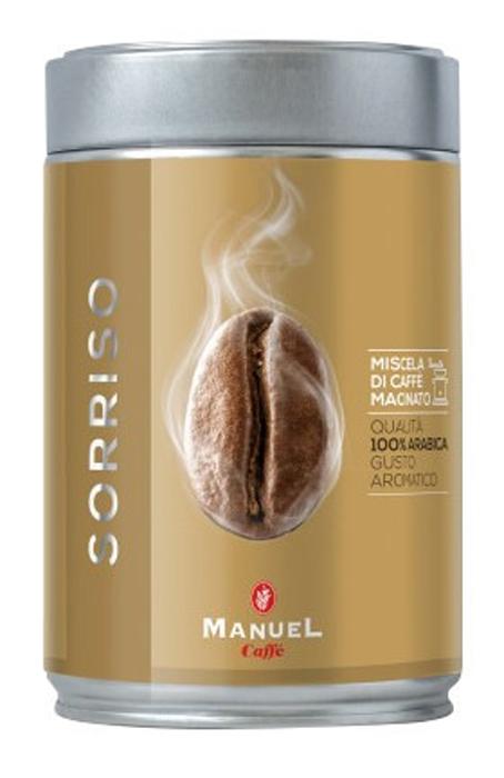 Manuel Sorriso кофе молотый, 250 г (ж/б)0120710Manuel Sorriso - кофе для тех, кто выбирает лучшее. Умелая комбинация нескольких сортов арабики из центральной Африки и Америки, результатом которой является соединение всех ароматов в неповторимый по своим качествам букет.