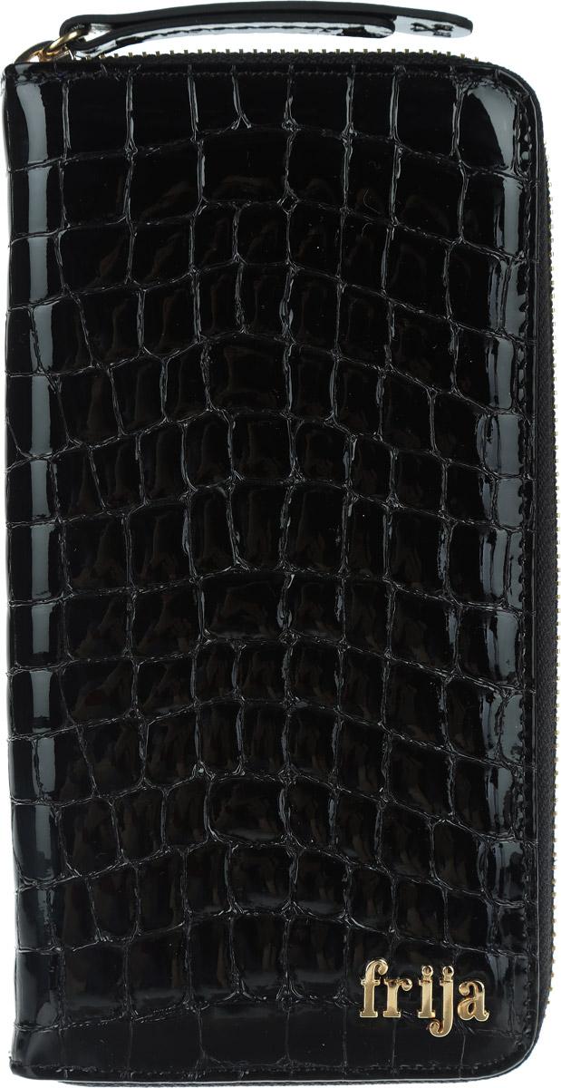 Портмоне женское Frija, цвет: черный. 15-0209-11W16-32125_101Стильное портмоне Frija выполнено из натуральной кожи с лаковым покрытием и декоративным фактурным тиснением под кожу рептилии. Портмоне оформлено металлической фурнитурой с символикой бренда.Изделие закрывается на застежку-молнию, внутри содержит: три отделения для купюр, два кармашка для мелких документов, восемь карманов для кредитных карт, отделение для монет на молнии.Изделие упаковано в коробку из плотного картона с логотипом фирмы.Это очаровательное портмоне непременно подойдет к вашему образу и порадует стилем и функциональностью.