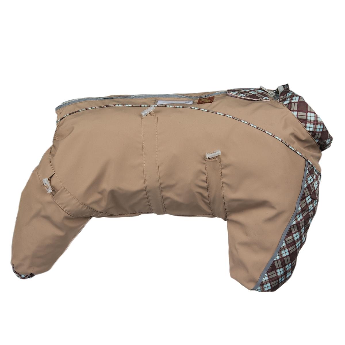 Комбинезон для собак Dogmoda Doggs, для девочки, цвет: бежевый. Размер L0120710Комбинезон для собак Dogmoda Doggs отлично подойдет для прогулок в прохладную погоду.Комбинезон изготовлен из полиэстера, защищающего от ветра и осадков, а на подкладке используется вискоза, которая обеспечивает отличный воздухообмен. Комбинезон застегивается на молнию и липучку, благодаря чему его легко надевать и снимать. Молния снабжена светоотражающими элементами. Низ рукавов и брючин оснащен внутренними резинками, которые мягко обхватывают лапки, не позволяя просачиваться холодному воздуху. На вороте, пояснице и лапках комбинезон затягивается на шнурок-кулиску с затяжкой. Благодаря такому комбинезону простуда не грозит вашему питомцу.Длина по спинке: 42 см.Объем груди: 76 см.Обхват шеи: 54 см.