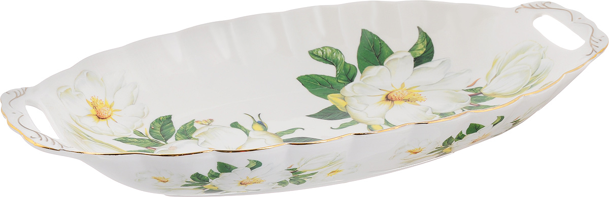 Блюдо для горячего Elan Gallery Белый шиповник, 42 х 22,5 смVT-1520(SR)Блюдо для горячего Elan Gallery Белый шиповник, изготовленное из керамики, станет украшением вашего праздничного стола. Изделие подходит для подачи горячего или шашлыка. В такой посуде можно приготовить блюдо и, не перекладывая на другую тарелку, подать его стол. Благодаря двум ручками его удобно переносить.Красочность оформления придется по вкусу тем, кто предпочитает утонченность и изящность. Не рекомендуется применять абразивные моющие средства.Не использовать в микроволновой печи.Объем блюда: 1,5 л.Размер блюда (с учетом ручек): 42 х 22,5 х 5,5 см.