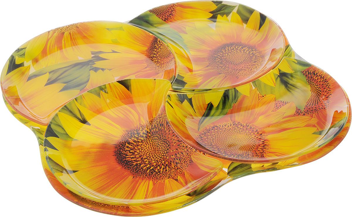 Набор столовой посуды Loraine, 5 предметов. 2390654 009312Набор столовой посуды Loraine включает 4 тарелки в форме полумесяца и большое блюдо, на котором они располагаются. Изделия выполнены из высококачественного закаленного стекла, декорированы красочным рисунком в виде подсолнухов. Предметы набора сочетают в себе изысканный дизайн с максимальной функциональностью. Оригинальность оформления тарелок придется по вкусу и ценителям классики, и тем, кто предпочитает утонченность и изящность. Набор тарелок послужит отличным подарком к любому празднику. Можно мыть в посудомоечной машине. Размер тарелки: 20 х 17 см. Размер блюда: 34 х 34 х 1,5 см.