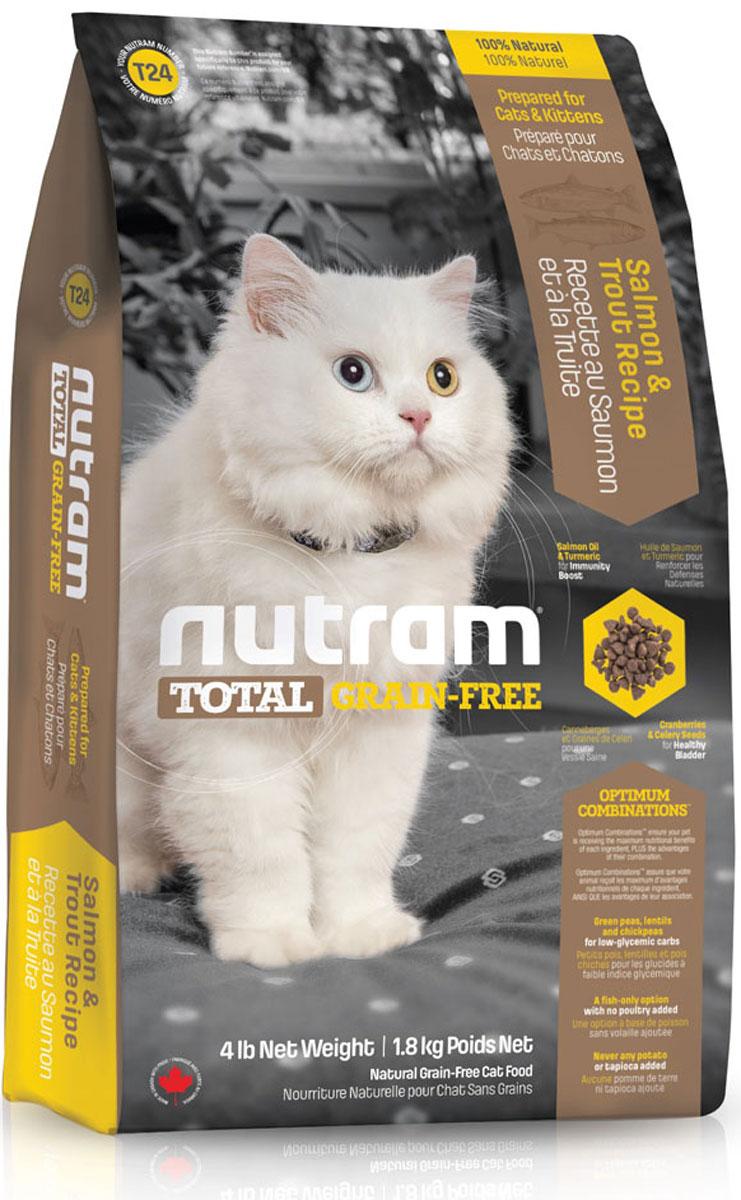 Корм сухой Nutram Total Grain-Free, для кошек и котят, беззерновой, с лососем и форелью, 1,8 кг54917Беззерновой сухой корм Nutram Total Grain-Free - натуральное и полноценное питание с низким гликемическим индексом углеводов. Корм обеспечивает ваших домашних питомцев только полезными ингредиентами, обработанными специальным способом для сохранения максимальной пользы. Рецептура корма Nutram Total Grain-Free соответствует возрастным нормам питания для кошек, установленным ассоциацией AAFCO. Он содержит в себе мясо лосося и форели высокого качества, витамины, аминокислоты и минеральные вещества.Состав: мясо форели без костей, дегидрированное мясо лосося, дегидрированное мясо рыбы менхаден, зеленый горошек, чечевица, бараний горох, каноловое масло, мясо лосося без костей, жир лососевых рыб, натуральный овощной ароматизатор, морковь, яблоки, тыква мускатная, киноа, хлорид холина, клюква, черника, ежевика, листовая капуста, корень цикория (пребиотик), витамины и минералы (витамин E, витамин С, витамин В3, витамин А, витамин В1, витамин B5, витамин B6, витамин B2, бета-каротин, витамин D3, витамин B9, витамин B7, витамин B12, протеинат цинка, сульфат железа, оксид цинка, протеинат железа, сульфат меди, протеинат меди, протеинат марганца, оксид марганца, иодат кальция, селенит натрия), таурин, юкка Шидигера, шпинат, семена сельдерея, мята перечная, ромашка, куркума, имбирь, розмарин сушеный.Пищевая ценность: белки (мин.) 36,0%, жиры (мин.)17,0%, клетчатка (макс.) 5,5%, вода (макс.) 10,0%, зола (макс.) 6,5%, кальций (мин.) 0,90%, фосфор (мин.) 0,70%, омега-3 (мин.) 1,30%, омега-6 (мин.) 2,80%.Калорийность на кг: 3 920 ккал/кг. Товар сертифицирован.