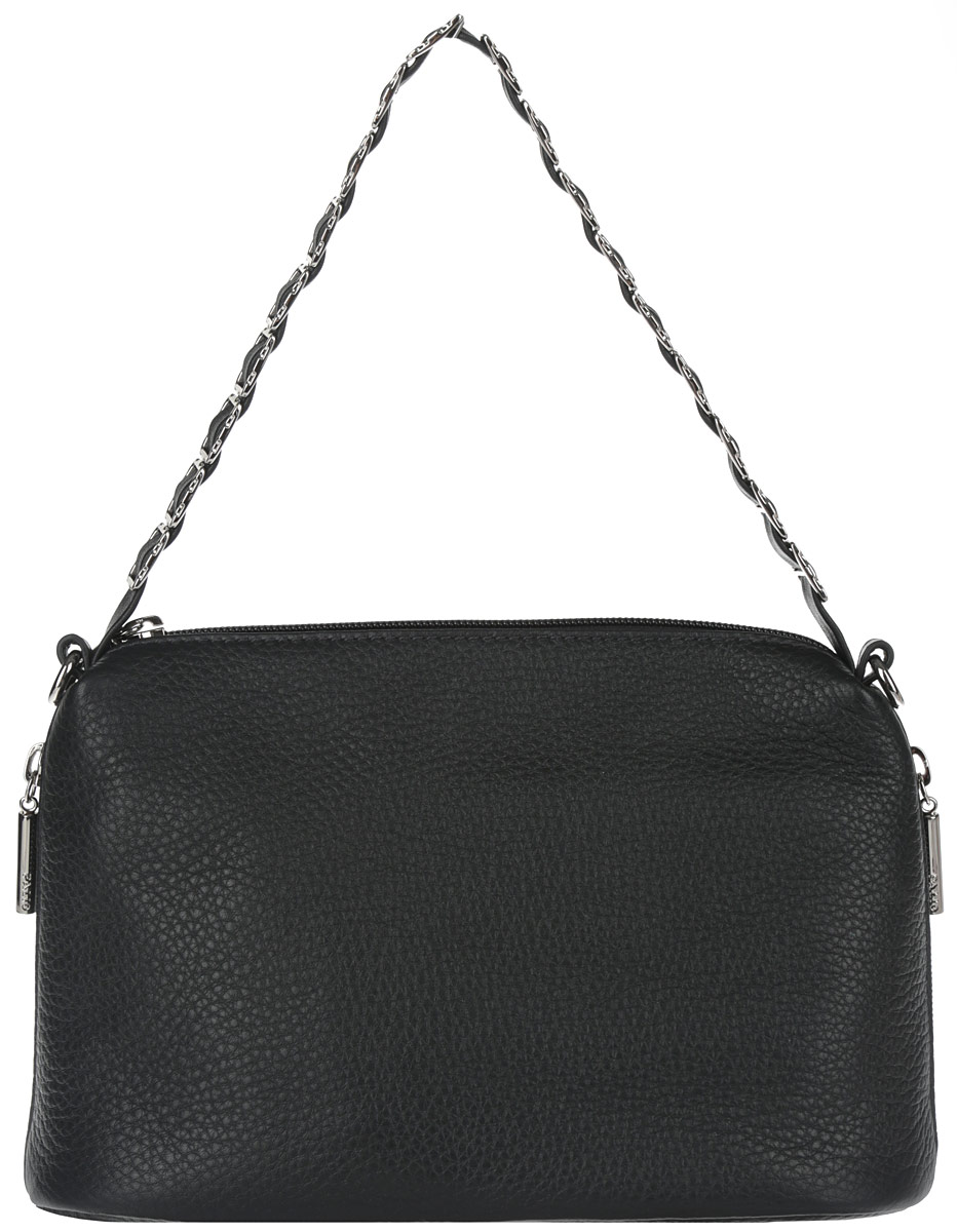 Сумка женская Palio, цвет: черный. 2913967-637T-17s-01-42Элегантная женская сумка Palio выполнена из натуральной кожи зернистой фактуры. Модель закрывается на пластиковую застежку-молнию. Внутри - одно отделение, разделенное карманом-средником на застежке-молнии, также есть врезной карман на застежке-молнии, два накладных кармашка для мобильного телефона и различных мелочей. Сумка снаружи дополнена двумя боковыми прорезными кармашками на застежках-молниях. Основное украшение приходится на ручку - здесь кожаный ремешок аккуратно продет сквозь металлическую цепочку с крупными квадратными звеньями. В комплекте чехол для хранения и съемный плечевой ремешок, регулируемой длины.Привлекательная сумка внесет элегантные нотки в ваш образ и подчеркнет ваше отменное чувство стиля.