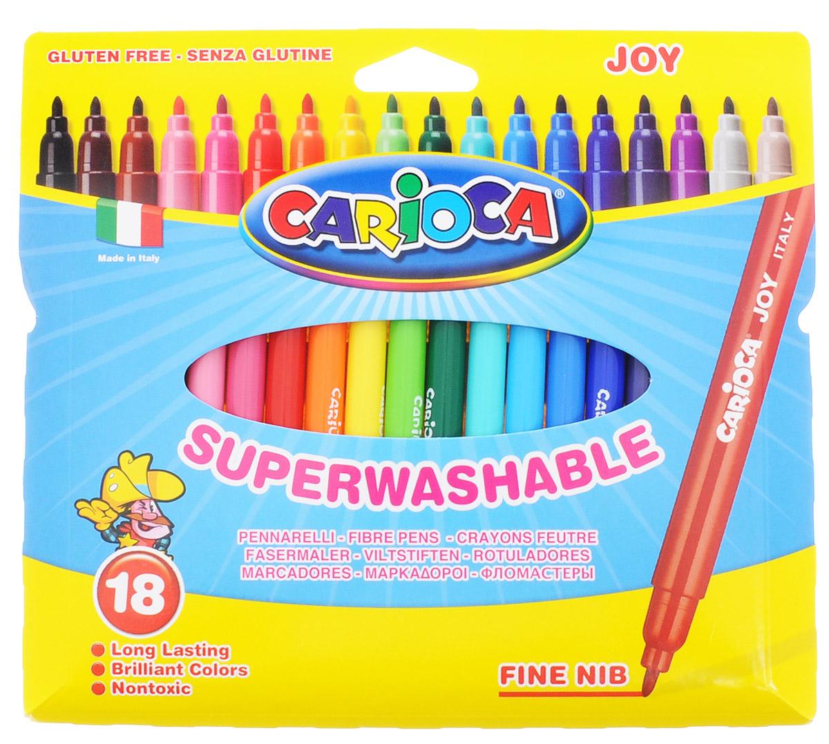 Carioca Набор фломастеров Joy 18 цветов72523WDНабор Joy состоит из 18 разноцветных фломастеров, которые отлично подойдут и для школьных занятий, и просто для рисования. Фломастеры рисуют яркими насыщенными цветами. Чернила на водной основе легко смываются с кожи и отстирываются с большинства тканей. Корпус фломастеров изготовлен из полипропилена, а колпачок имеет специальные прорези, что еще больше увеличивает срок службы чернил и предотвращает их преждевременное высыхание. Порадуйте своих детей великолепными фломастерами Joy.
