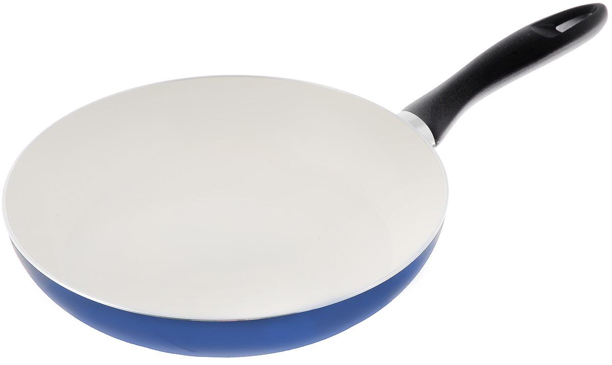 Сковорода Tescoma Ecopresto, с керамическим покрытием, цвет: синий. Диаметр 26 см1026Сковорода Tescoma Ecopresto изготовлена из штампованного алюминия. Керамическое покрытие имеет повышенную стойкость к высоким температурам, температурному шоку и механическому износу. Сковорода экологична, производство не вредит окружающей среде. Изделие снабжено прочной бакелитовой ручкой. Можно мыть в посудомоечной машине. Подходит для газовых, электрических и стеклокерамических плит. Диаметр (по верхнему краю): 26 см. Высота стенки: 5 см. Длина ручки: 19 см.