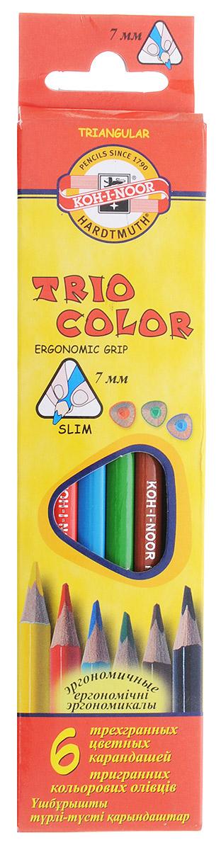 Koh-i-Noor Цветные карандаши Triocolor 6 цветовFS-00102Цветные карандаши Triocolor откроют юным художникам новые горизонты для творчества. Трехгранная форма корпуса позволяет снизить усталость при рисовании и письме, развивает мелкую моторику пальцев, что особенно важно для детей младшего школьного возраста. Карандаши имеют прочный неломающийся грифель, не требующий сильного нажатия. Карандаши легко затачиваются. Комплект включает 6 карандашей ярких насыщенных цветов - красного, желтого, синего, зеленого, коричневого и черного. Карандаши уже заточены, поэтому все, что нужно для рисования - это взять чистый лист бумаги и можно начинать!