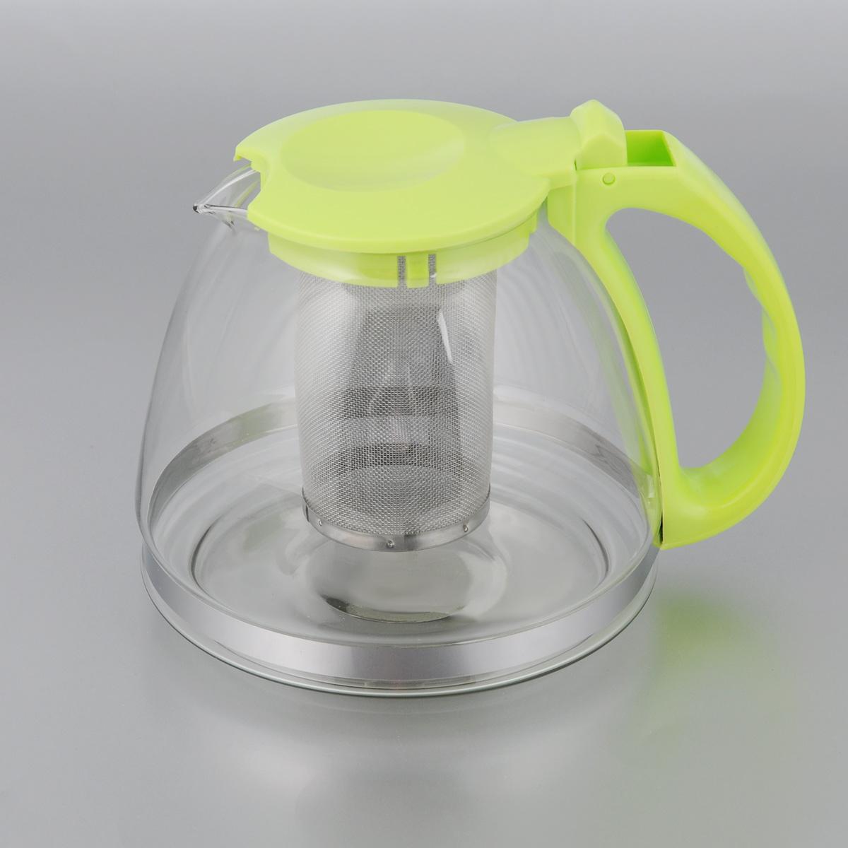 Чайник заварочный МФК-профит, с фильтром, цвет: светло-зеленый, 1,3 л1812-01Заварочный чайник МФК-профит, изготовленный из термостойкого стекла и полипропилена, предоставит вам все необходимые возможности для успешного заваривания чая. Чай в таком чайнике дольше остается горячим, а полезные и ароматические вещества полностью сохраняются в напитке. Чайник оснащен фильтром, который выполнен из нержавеющей стали. Простой и удобный чайник поможет вам приготовить крепкий, ароматный чай.Нельзя мыть в посудомоечной машине. Не использовать в микроволновой печи.Диаметр чайника (по верхнему краю): 7,5 см.Высота чайника (без учета крышки): 13 см.Высота фильтра: 10 см.