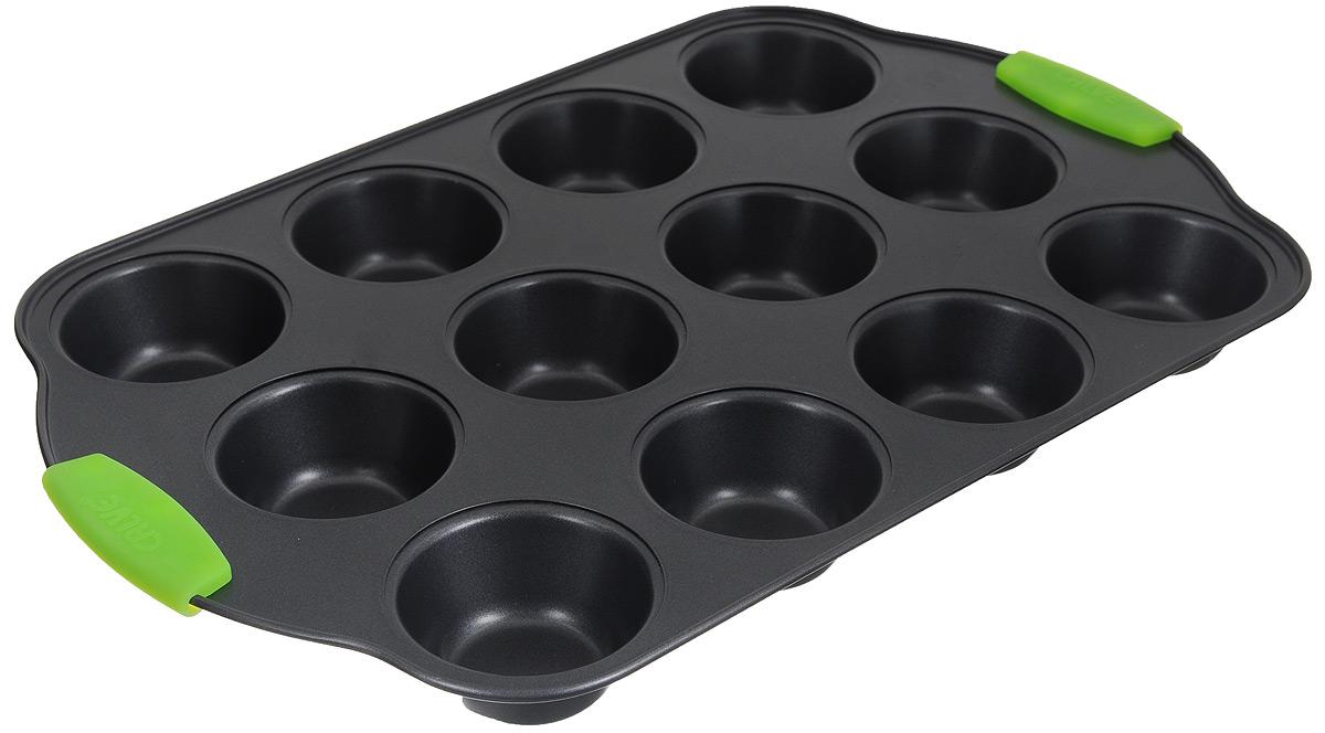 Форма для выпечки кексов Calve, с антипригарным покрытием, цвет: темно-серый, зеленый, 12 ячеекCL-4585_темно-серый, зеленыйФорма для выпечки кексов Calve изготовлена из высококачественной углеродистой стали с антипригарным покрытием. Изделие снабжено ненагревающимися ручками с силиконовыми вставками. Форма равномерно и быстро прогревается, что способствует лучшему пропеканию пищи. Ее легко чистить. Готовая выпечка без труда извлекается.Простая в уходе и долговечная в использовании форма для выпечки Calve станет верным помощником в создании ваших кулинарных шедевров. Можно мыть в посудомоечной машине.Размер формы: 41 х 26 х 3,5 см. Размер ячейки: 7 х 7 х 3,5 см.