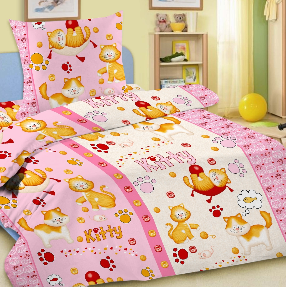 Letto Комплект детского постельного белья Китти цвет розовый012H1800Letto.kids - это веселые детские и подростковые дизайны, в хлопковом исполнении с хорошими устойчивыми красителями и все это по очень доступной цене! Такое белье прослужит долго и выдержит много стирок. Рисунок на наволочке может отличаться от представленного на фото.