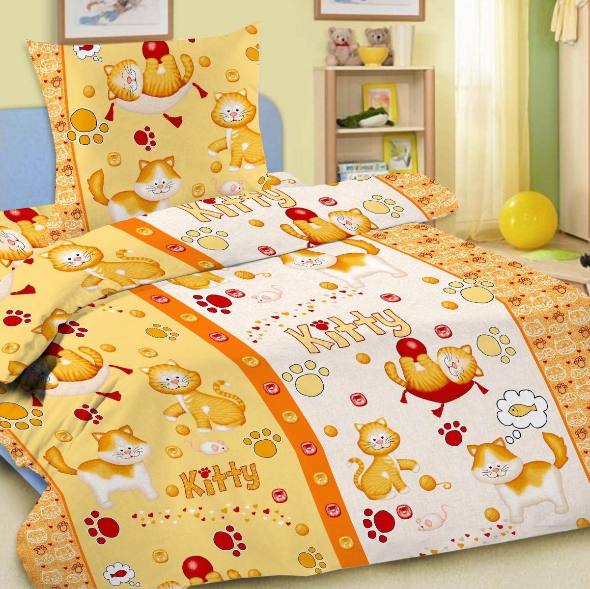 Letto Комплект детского постельного белья Китти цвет желтый531-105Letto.kids - это веселые детские и подростковые дизайны, в хлопковом исполнении с хорошими устойчивыми красителями и все это по очень доступной цене! Такое белье прослужит долго и выдержит много стирок. Рисунок на наволочке может отличаться от представленного на фото.