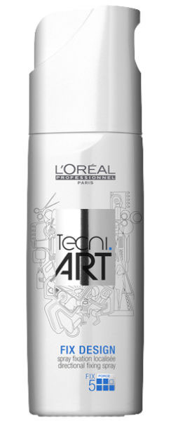 LOreal Professionnel Tecni. art Fix Спрей для локальной фиксации (фикс.5) 200 млOL.12/400Анионные полимеры средства L`Oreal Professional Фикс Дизайн сверхсильной фиксации надежно защищают ваши волосы от вредного воздействия окружающей среды. Полимеры крепятся на поверхности волоска и, окружая его, создают защитный слой. При этом ваши волосы выглядят более эластичными и крепкими. Спрей также содержит специальный компонент для легкого расчесывания и придания мягкости волосам. УФ-фильтры, входящие в состав спрея, эффективно защищают ваши волосы от вредного солнечного излучения.Спрей Фикс Дизайн подходит для любого типа волос.Уровень фиксации: 5 (сверхсильная фиксация).