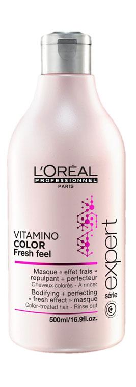LOreal Professionnel INOA - Маска с освежающим эффектом для защиты цвета окрашенных волос Expert Vitamino Color Fresh Feel Masque 500 мл1106005321Идеально подходит для волос, окрашенных. В сочетании с мягким шампунем без сульфатов Vitamino Color AOX Soft Cleanser освежающая маска защищает материю окрашенных волос. Профессиональные стилисты знают, что женщины мечтают о сохранении текстуры и блеска только что окрашенных волос как можно дольше. Нежная тающая текстура с освежающим эффектом разглаживает чешуйки волоса и мягко освежает кожу головы. Окрашенные волосы выглядят вновь как в первый день после окрашивания, становятся гладкими, послушными и сияющими. сохраняя насыщенность оттенка.
