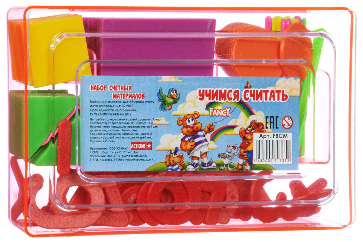 Fancy Касса счетных материалов Учимся считать цвет розовый72523WDКасса счетных материалов Fancy Учимся считать - обучающее и развивающее пособие для детей от 3 до 8 лет.В состав кассы входят геометрические фигуры, цифры, арифметические знаки и счетные палочки. Все составляющие имеют яркие цвета и безопасные закругленные углы. Касса упакована в удобную для хранения пластиковую коробку.