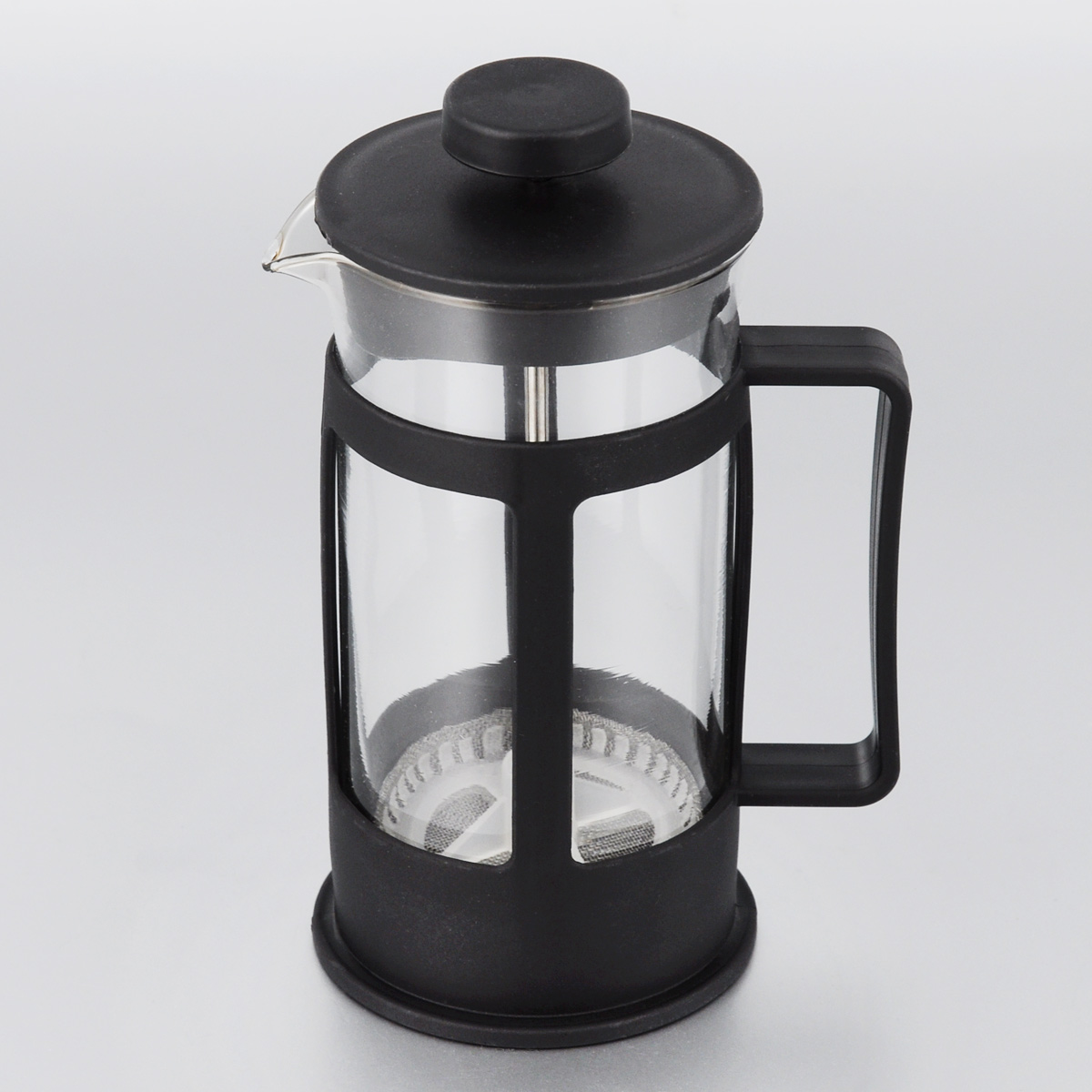 Френч-пресс МФК-профит, цвет: черный, 300 мл391602Френч-пресс МФК-профит поможет приготовить вкусный и ароматный чай или кофе. Корпус выполнен из высококачественного термостойкого пластика, а колба - из жаропрочного боросиликатного стекла. Чайник снабжен фильтром из метала с пластиковым элементом и удобной ручкой. Не рекомендуется использовать в посудомоечной машине и в микроволновой печи. Диаметр (по верхнему краю): 7 см. Высота чайника (без учета крышки): 14 см.