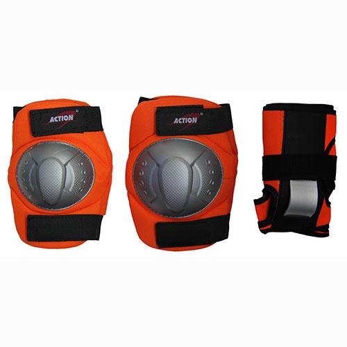 Комплект защиты Action, для катания на роликах, цвет: оранжевый, серый, черный. Размер M. PWM-36028263321Комплект защиты Action для катания на роликах состоит из 2 наколенников, 2 налокотников и 2 наладонников. Основные элементы комплекта выполнены из нейлона, защитные накладки - их ПВХ.Наиболее распространенной является тройная защита – наколенники, налокотники и наладонники со специальными пластинами на запястьях. Такой набор защиты для катания на роликовых коньках считается оптимальным, предохраняя от травм самые уязвимые места при катании. Размер: M (соответствует размерам коньков 34-40).