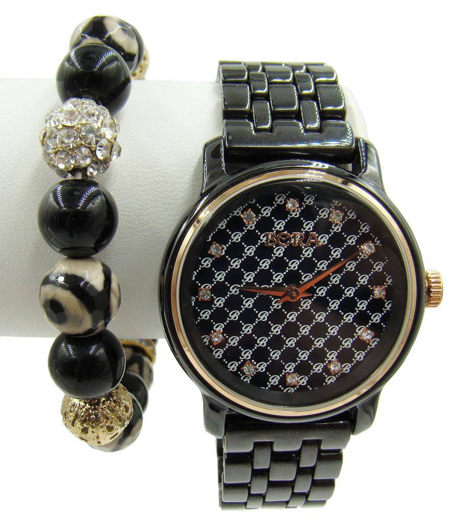 Часы наручные Bora, с браслетом, цвет: золотистый, черный. T-B-6770BM8434-58AEЧасы наручные электронно-механические кварцевые. Часы аксессуарные, с механической индикацией. Часовой механизм Seiko Instruments (SII), с питанием от сменного кварцевого элемента. Модель декорирована стразами. Браслет выполнен из бижутерного сплава, не содержащего свинец, дополнен бусинами из стекла и пластика.