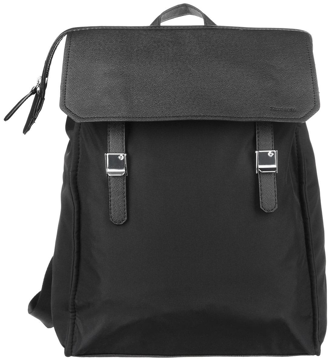 Рюкзак женский Samsonite, цвет: черный. 56D-09003S76245Стильный женский рюкзак Samsonite выполнен из полиэстера и полиуретана, оформлен металлической фурнитурой и символикой бренда.Изделие содержит одно отделение, закрывающееся на застежку-молнию. Внутри рюкзака расположены мягкий карман для небольшого ноутбука и карман для планшета, которые закрываются эластичным хлястиком на застежку-липучку, а также карман с сетчатой вставкой на застежке-молнии. На лицевой стороне изделия расположен вместительный накладной карман, который закрывается клапаном с двумя хлястиками на зажимы. Внутри кармана расположены два накладных кармашка для мелочей. Задняя сторона изделия дополнена врезным карманом на застежке-молнии. Изделие оснащено двумя широкими плечевыми лямками регулируемой длины и петлей для подвешивания. Дно рюкзака дополнено металлическими ножками.Практичный аксессуар позволит вам завершить образ и быть неотразимой.