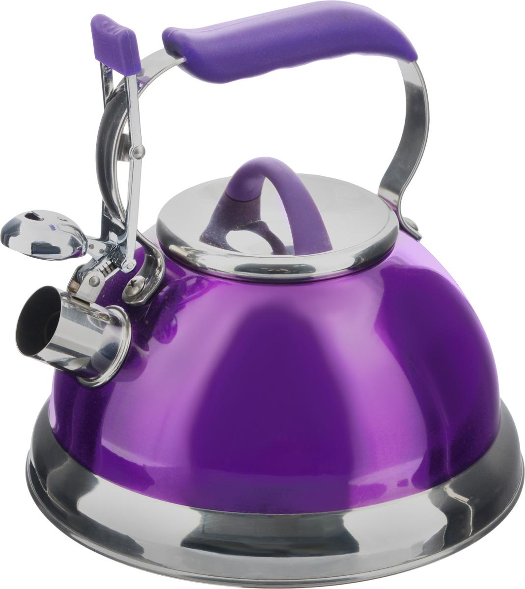 Чайник Calve, со свистком, цвет: фиолетовый, 2,7 лVT-1520(SR)Чайник Calve изготовлен из высококачественной нержавеющей стали с термоаккумулирующим дном. Нержавеющая сталь обладает высокой устойчивостью к коррозии, не вступает в реакцию с холодными и горячими продуктами и полностью сохраняет их вкусовые качества. Особая конструкция дна способствует высокой теплопроводности и равномерному распределению тепла. Чайник оснащен удобной бакелитовойручкой с силиконовым покрытием. Носик чайника имеет откидной свисток, звуковой сигнал которого подскажет, когда закипит вода. Подходит для всех типов плит, включая индукционные. Можно мыть в посудомоечной машине.Диаметр чайника (по верхнему краю): 10,5 см.Высота чайника (без учета ручки и крышки): 11,5 см.Высота чайника (с учетом ручки): 21 см.