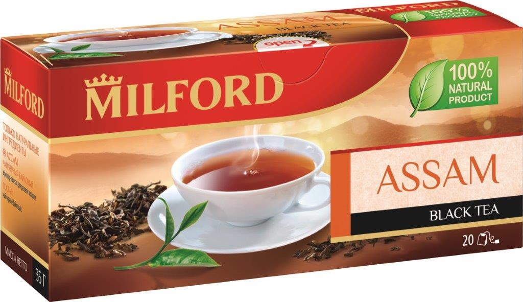 Milford Ассам черный чай в пакетиках, 20 шт0120710Яркий, насыщенный, терпкий вкус чая Milford Ассам по достоинству оценят любители классики черных чаев. Жаркое индийское лето, сильные и свежие ветра Ассама - о них напомнит этот удивительный напиток. Заварите чашечку Milford Ассам и ощутите вкус настоящего черного чая.