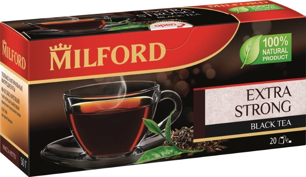 Milford Особо крепкий черный чай в пакетиках, 20 штбая007Очень крепкий чай для ценителей яркого, глубокого вкуса. Подходит для заваривания как в чашке, так и в чайнике. Выразительный, терпкий, сильный - черный чай Особо Крепкий - один из лучших купажей насыщенных ассамских чаев из коллекции Milford.