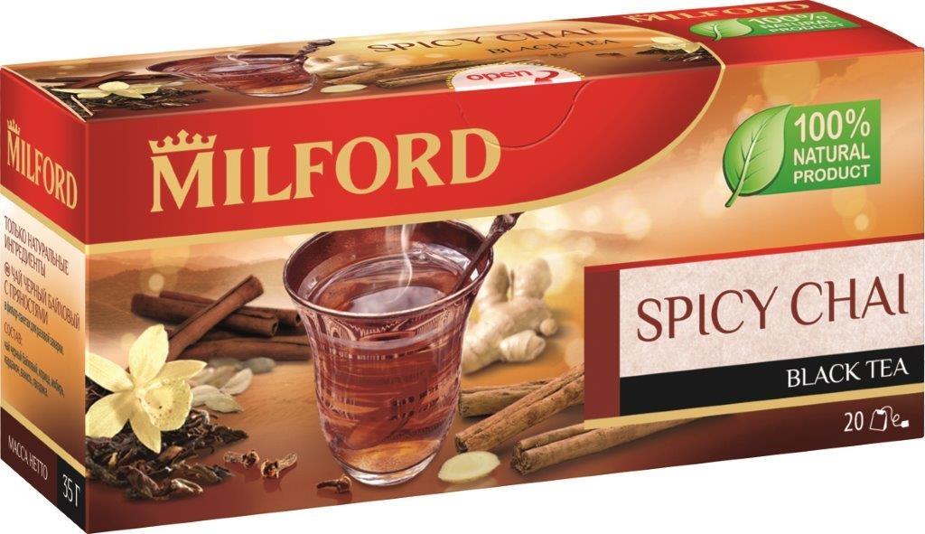 Milford черный чай с пряностями в пакетиках, 20 шт101246Milford с пряностями - это великолепная композиция из черного чая, пряного кардамона, жгучего имбиря, ароматной гвоздики и сладкой ванили. Прикоснитесь к индийским традициям - черный чай со специями и пряностями или чай масала известен в мире не одно тысячелетие. Черный чай Milford с пряностями согреет и взбодрит, поможет прояснить мысли и придаст остроту чувствам. Попробуйте этот чай с молоком и коричневым сахаром.