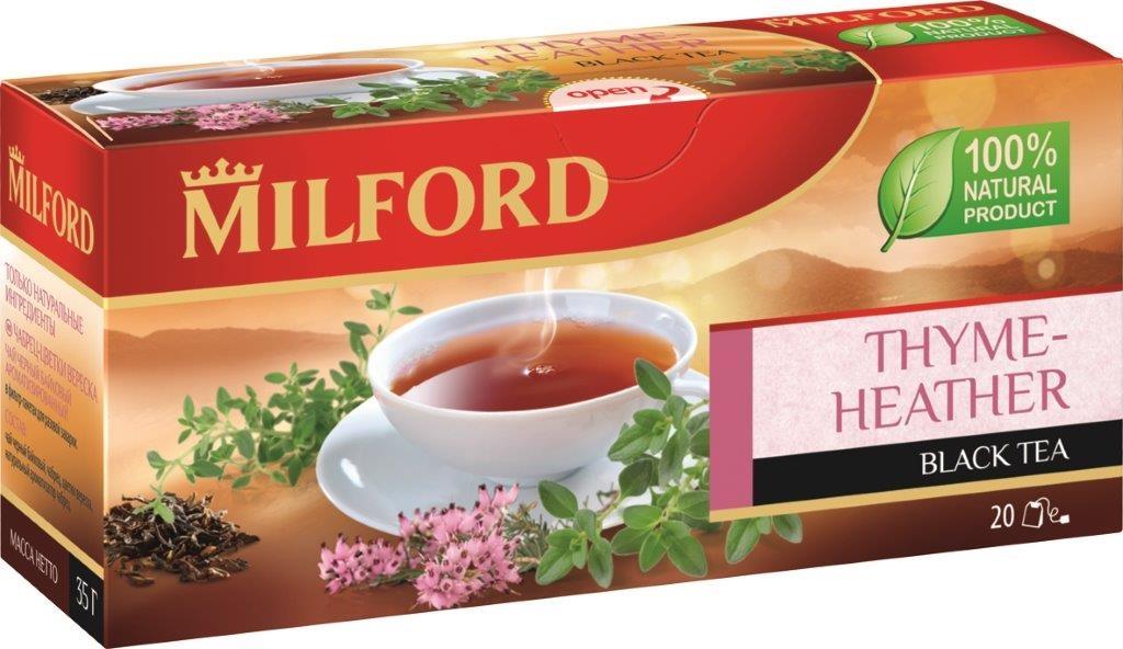 Milford Чабрец-Вереск черный чай в пакетиках, 20 штбая011Душистый чабрец в сочетании с благородным черным цейлонским и крепким ассамским чаем, дополненный прекрасными цветками вереска, создает удивительно пронзительную и необычную композицию. Это чай подарит вам свежесть и терпкость запахов летнего утра.