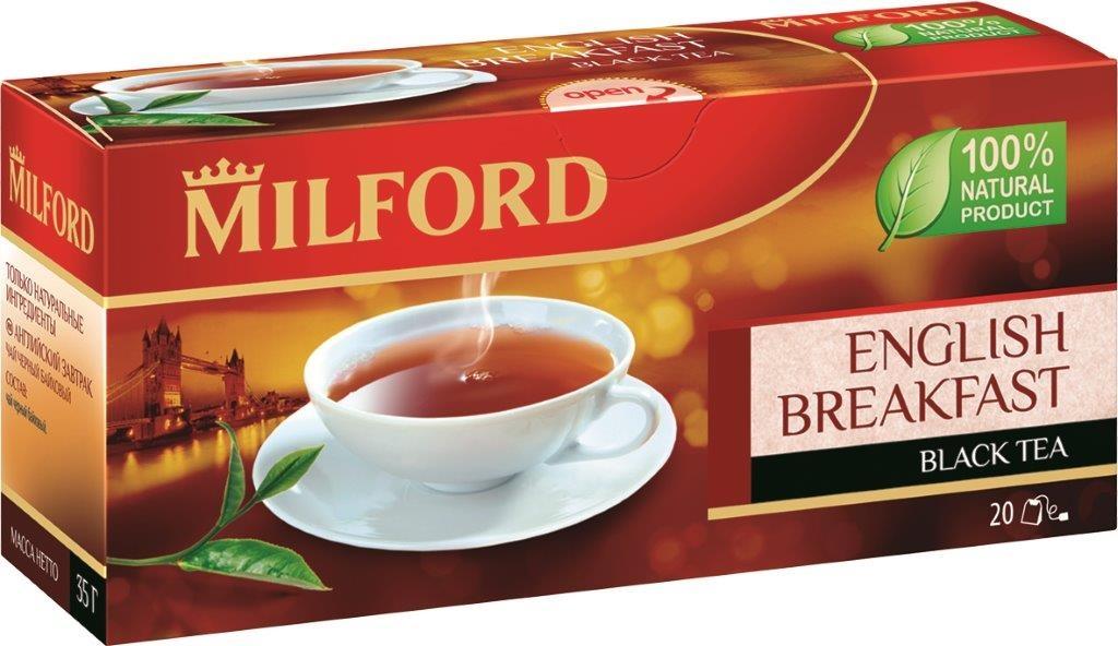 Milford Английский завтрак черный чай в пакетиках, 20 шт1594Milford Английский завтрак - смесь лучших сортов черного байхового чая из Индии и Африки. Имеет классический вкус черного утреннего чая. Ароматная смесь крепких ассамских и более мягких, но насыщенных кенийских чаев создана чайными мастерами-профессионалами.