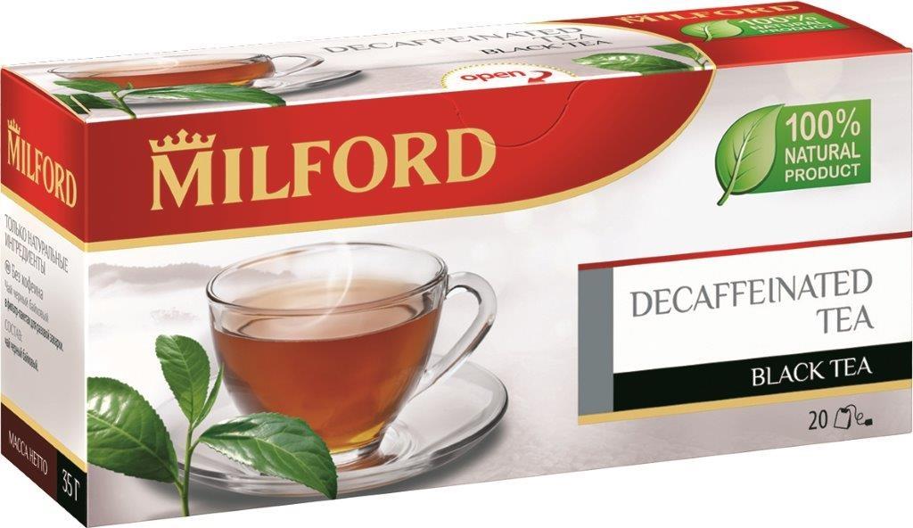Milford черный чай без кофеина в пакетиках, 20 шт101246Milford черный чай без кофеина - инновация чайного ассортимента, новое слово в черном чае. Это прекрасная альтернатива традиционному черному чаю для тех, кто отказался от кофеина. В чае сохранены вкус и аромат превосходного черного чая.