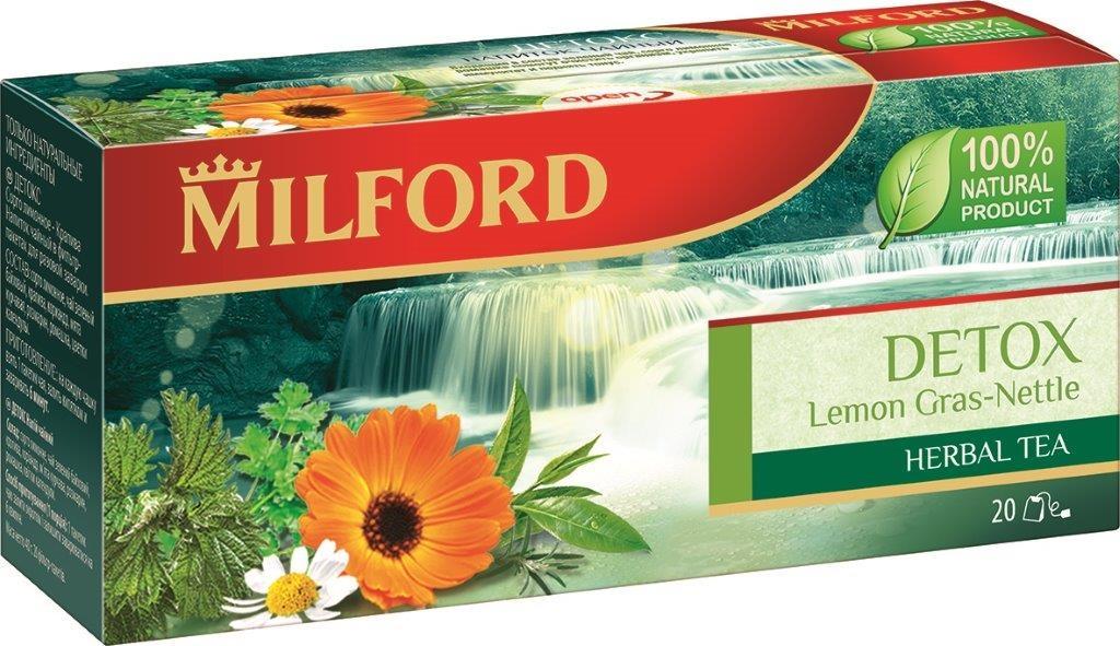 Milford Детокс травяной чай в пакетиках, 20 штPS102Травяной чай Milford Детокс изготовлен только из натуральных ингредиентов. Пряный аромат мяты и кориандра подчеркивает тонкий, терпкий вкус зеленого чая. Розмарин, цветки ромашки и календулы дополняют эту удивительную композицию.