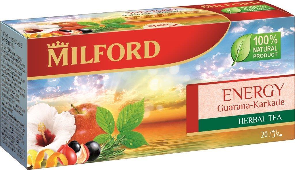 Milford Энерджи травяной чай в пакетиках, 20 шт8886300990270Milford Энерджи - это необычайно приятный напиток из яблок, каркадэ, лимонного сорго с цедрой апельсина и семенами гуараны. Это 100% натуральный продукт, который создан для энергичного, наполненного событиями дня.