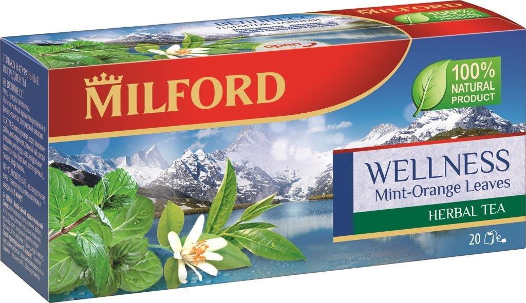 Milford Веллнесс травяной чай в пакетиках, 20 штPS106Травяной чай Milford Веллнесс - это изысканная композиция из ароматной мяты, зеленого чая, пряного ройбоса, дополненная свежестью цедры лимона и лимонного сорго. Листья апельсина и семена гуараны гармонично завершают этот восхитительный букет. Это не только вкусный, но и полезный напиток, который содержит только натуральные ингредиенты.