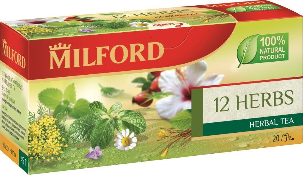 Milford 12 трав травяной чай в пакетиках, 20 штбая125рMilford 12 трав - уникальная композиция из полезных и вкусных трав: освежающая мята, нежная ромашка, пряный фенхель, шиповник, гибискус. Входящие в его состав травы богаты биологически активными веществами. Они благотворно влияют на организм человека и укрепляют жизненные силы. Это не только вкусный, но и полезный напиток, который содержит только натуральные ингредиенты. Не содержит кофеин.