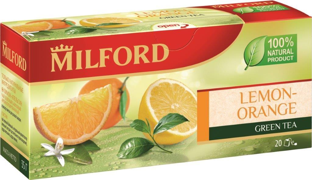Milford Лимон-Апельсин зеленый чай в пакетиках, 20 шт101246Milford Лимон-Апельсин - это зеленый байховый ароматизированный чай в пакетиках. Классическое и одновременно модное сочетание зеленого чая и цитрусовых ароматов сделает ваше чаепитие ярким и необыкновенным.
