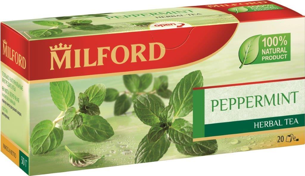Milford Мята перечная травяной чай в пакетиках, 20 шт0120710Травяной чай Milford Мята перечная - это настоящее наслаждение с сильным и свежим ароматом. Листья мяты богаты эфирными маслами, в том числе ментолом. Согласно легенде, мята получила свое название в честь римской богини Менты, олицетворяющей разум и здравый смысл. Мята улучшает работу мысли, дарит спокойствие и безмятежность. Травяной чай Milford - 100% натуральный продукт. Не содержит кофеин.