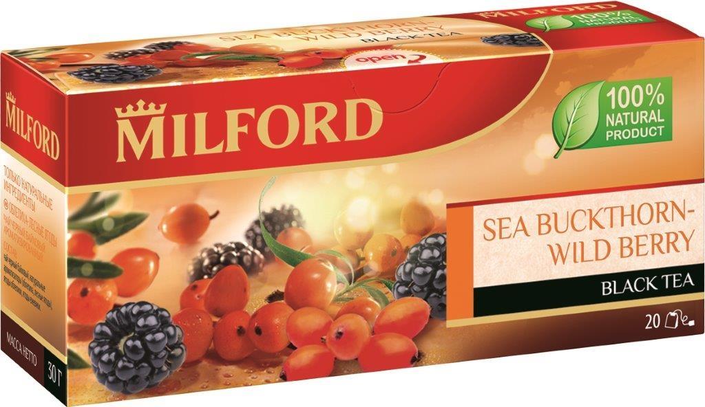 Milford Облепиха-Лесные ягоды черный чай в пакетиках, 20 шт0120710Milford Облепиха-Лесные ягоды - отличный купаж сортов черного чая, который прекрасно сочетается с сочными ягодами облепихи и ежевики. Приятная терпкость хорошего индийского чая, аромат облепихи и сладость лесной ежевики. Облепиха в сочетании с ароматными лесными ягодами придает чаю неповторимый чарующий вкус.