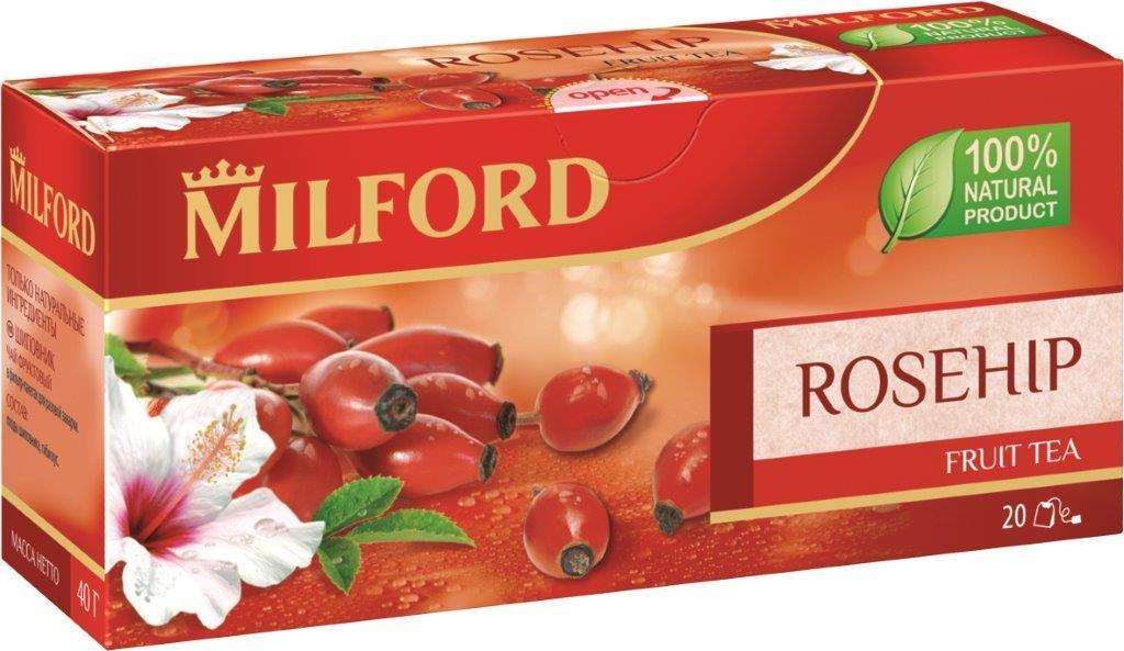 Milford Шиповник фруктовый чай в пакетиках, 20 штбая112рФруктовый чай Milford Шиповник - это освежающая композиция из шиповника и гибискуса. Плоды шиповника издавна ценятся за высокое содержание витамина С и приятный кисловатый вкус. Употребление шиповника усиливает иммунитет, улучшает обмен веществ. Это очень полезный, тонизирующий и вкусный напиток. Чай Milford не содержит ароматизаторы и красители. Обладает прекрасными вкусовыми качествами в горячем и холодном виде.
