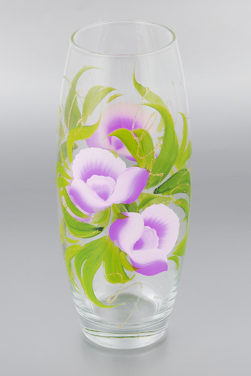 Ваза Мусатов Краса, высота 26,3 см. 966-12кFS-91909Ваза Мусатов Краса выполнена из высококачественного натрий-кальций-силикатного стекла. Изделие имеет изысканный внешний вид и декорировано художественной росписью. Такая ваза станет ярким украшением интерьера и прекрасным подарком к любому случаю. Диаметр вазы (по верхнему краю): 8 см. Высота вазы: 26,3 см.