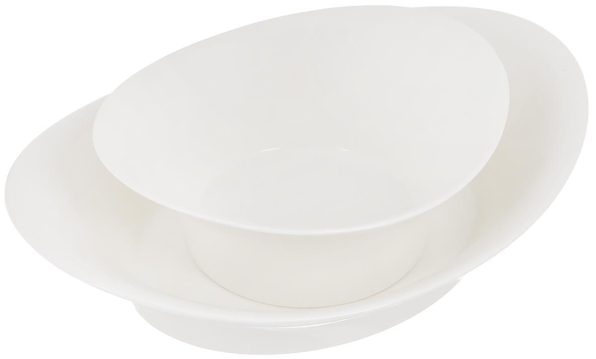 Набор мисок Tescoma Allegro, 2 шт391602Набор Tescoma Allegro состоит из 2 мисок разного размера, выполненных из высококачественного фарфора. Изделия отлично подходят для угощений, которые нужно очистить или развернуть: фисташки, завернутые конфеты, мандарины и многое другое. Верхняя миска используется для сервировки, нижняя миска предназначена для скорлупы, оберток, кожуры. Изделия могут использоваться отдельно для подачи различных блюд.Оригинальный дизайн, высокое качество и функциональность набора Tescoma Allegro позволят ему стать достойным дополнением к вашему кухонному инвентарю. Размер малой миски (по верхнему краю): 17,5 х 15,5 см.Высота малой миски: 7 см.Размер большой миски (по верхнему краю): 26 х 19 см.Высота большой миски: 6,5 см.