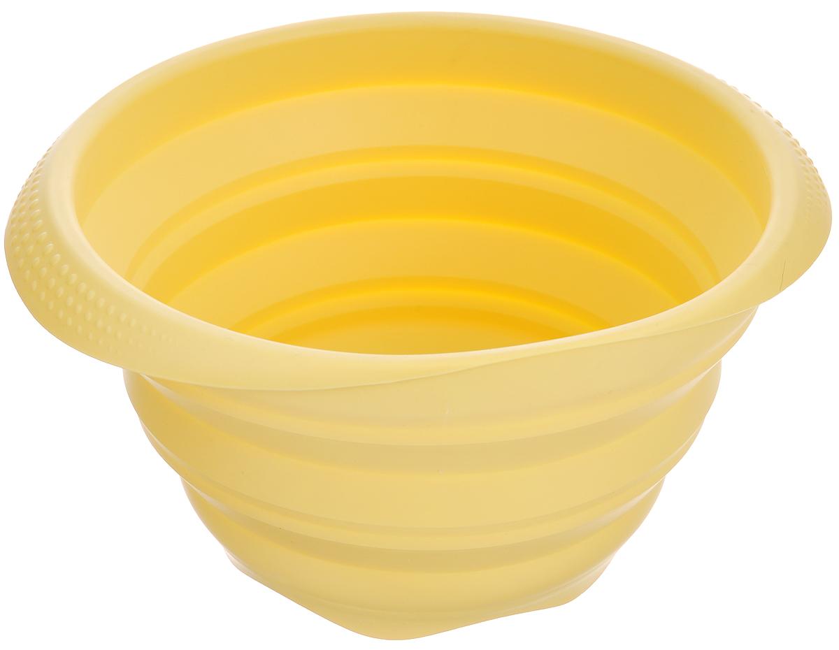 Миска складная Tescoma Fusion, цвет: желтый, диаметр 19 см54 009312Складная миска Tescoma Fusion, изготовленная из первоклассного жароупорного силикона, станет полезным приобретением для вашей кухни. Изделие отлично складывается, можно быстро разложить и сложить, легко моется. Обладает термостойкостью от -40°C до +230°C.Миска пригодна для всех видов духовок, микроволновой печи, холодильника, морозильника.Можно мыть в посудомоечной машине.Диаметр миски: 19 см.Ширина миски (с учетом ручек): 22,5 см.Высота миски (в разложенном виде): 11 см.Высота миски (в сложенном виде): 3,5 см.